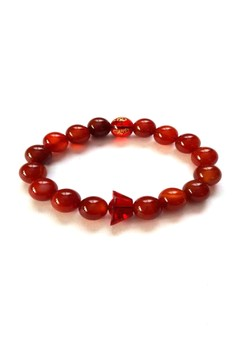 Feng Shui Red Agate Mantra with Money Ingot Bracelet