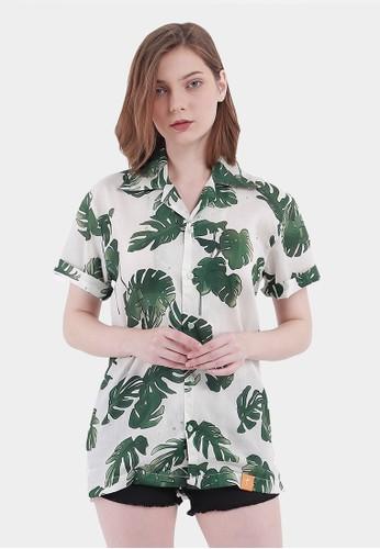 Monstore white Tropical Pattern Cuban Shirt A59D7AA000E892GS_1