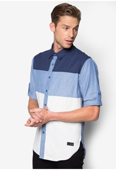 Color Block 3/4 Sleeve Shirt