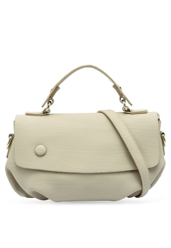 Bagstationz beige Faux Leather Convertible Satchel Bag 895A2AC6F2223FGS_1