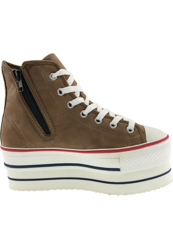 Maxstar brown Maxstar Women's CN9 7 Holes Double Platform PU High Top Sneakers US Women Size MA164SH13PPYSG_1