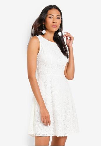 ZALORA BASICS white Basic Fit And Flare Lace Dress 58986AA608DC2CGS_1