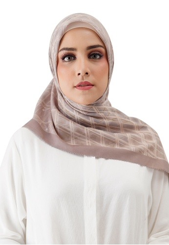 Buttonscarves 褐色 Buttonscarves Louvre Voile Square Brun 581ACAA2AEDB1CGS_1