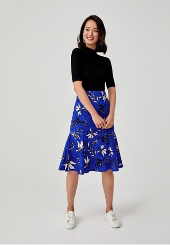 Love, Bonito blue Merabelle Midi Peplum Skirt in Botanica Bloom 869BCAA00DF7F7GS_1