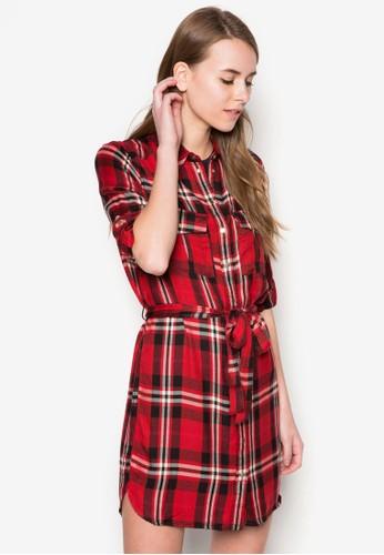 格紋繫帶zalora 鞋評價長袖連身裙, 服飾, 服飾