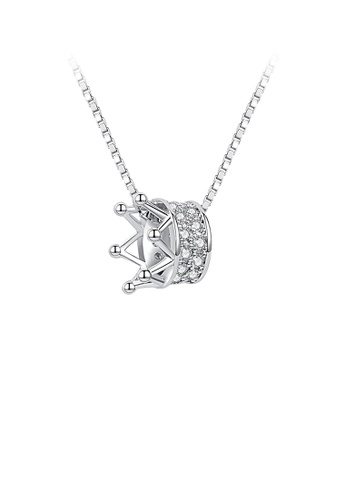 Glamorousky white 925 Sterling Silver Fashion Elegant Crown Pendant with Austrian Element Crystal and Necklace 705B9AC46EA238GS_1