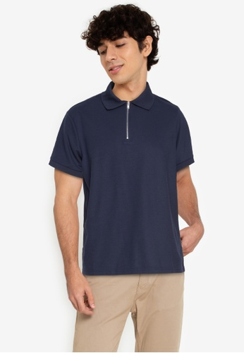 ZALORA BASICS navy Zip-Up Polo Shirt 811A4AA86D7885GS_1