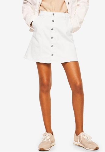 Mango white Buttoned Denim Skirt 2627BAAC0CF98CGS_1