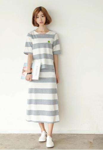 Shopsfashion grey and white Hello Tee and Midi Skirt Set SH656AA86KPHSG_1