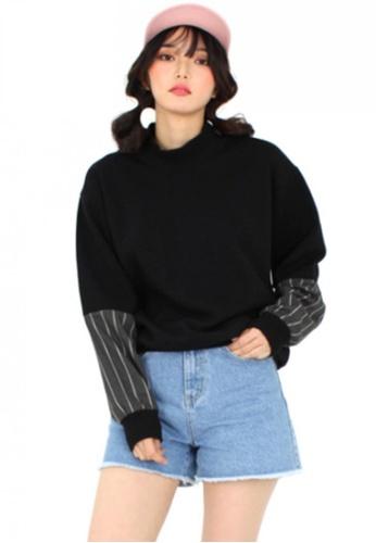 A X A black Stripe Sleeve Sweat Shirt AX230AA87CCYSG_1