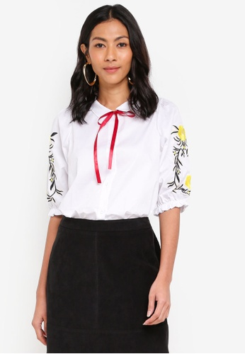 Shopsfashion white Embroidery Blouse With Bow E2779AA0960C62GS_1