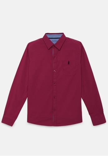 ZALZA red Apalis 100% Organic Cotton Boys Long Sleeve Shirt - Crimson Red A280AKA1E9F8AAGS_1