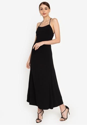 ZALORA OCCASION black Maxi Slip Dress 68210AA08CEF5DGS_1