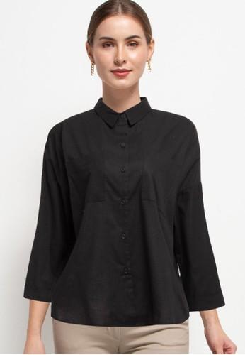 Zumara black Woman Buttoned Drop Sleeve Blouse F22C9AAC0846B7GS_1