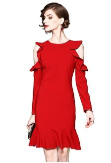 b94c5f46ed46d 2018 S S New Red Shoulder Cut Out One Piece Dress CA031425  D800BAA344FD61GS 1