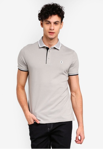Penshoppe grey Semi Fit Polo Shirt With Tipping C969BAAF74F46CGS_1