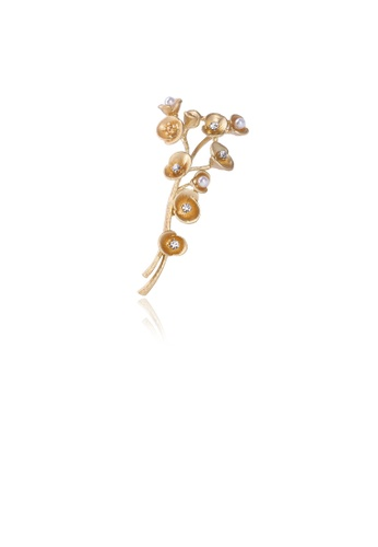 Glamorousky white Fashion and Simple Plated Gold Branch Flower Imitation Pearl Brooch with Cubic Zirconia 7EC1AAC8A06A2CGS_1