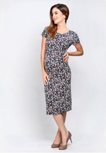 dada65b22e 9months navy Navy Perfect Fit Midi Maternity Dress 1F7E5AA38B5F96GS 1