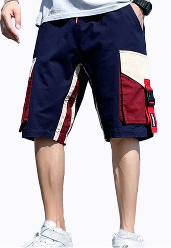 Sunnydaysweety navy Casual Trendy Loose Contrast Color Cargo Shorts A21070501NV 0EAA3AAD5669D3GS_1