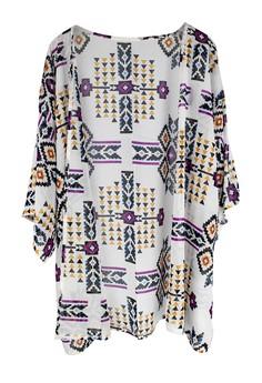 Aztec Print Kimono Cover Up