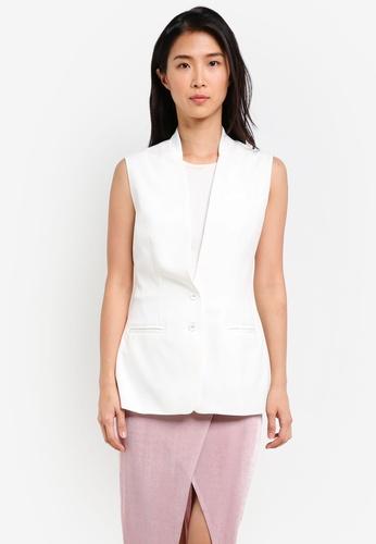 ZALORA white Slim Satin Waistcoat 36C0EAA6D05ED2GS_1