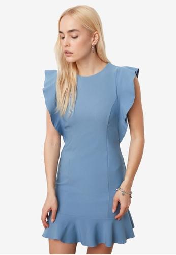 Trendyol blue Ruffle Sleeve Flywheel Dress 70882AA0F822B8GS_1
