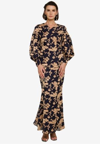 Zalia blue and beige Floral Texture Puff Sleeve Kurung 38CACAA6D95536GS_1
