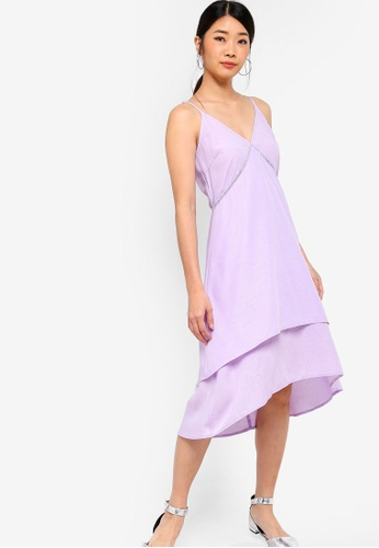 Something Borrowed purple Double-Layer Flare Dress 6BAE4AA9EA37DFGS_1