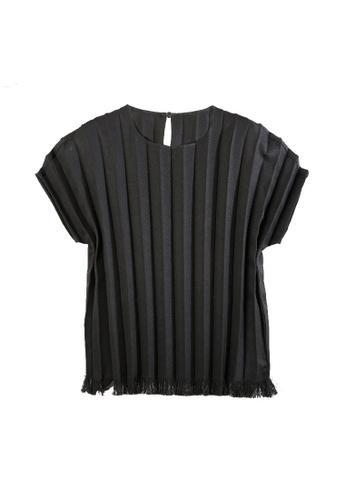 Giordano Ladies black Fringe Hem Pleated Blouse D5570AA0AF81FCGS_1