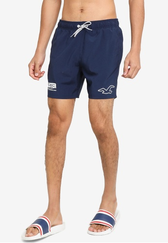 Hollister navy Solid Guard Graphic Beachwear Shorts 1D6ADUS3AAF2F9GS_1