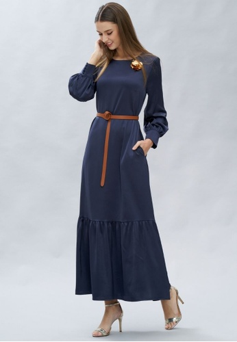 Loveaisyah navy Long Sleeves Navy Maxi Dress with free brooch EFD1EAAB8909DAGS_1