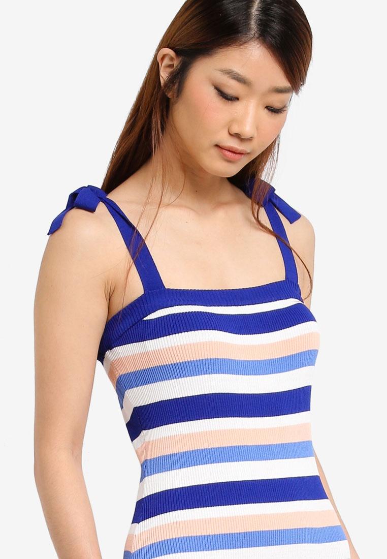 Striped Rib Blue Royal Dress ZALORA Strap Tie With CT6SUdrT