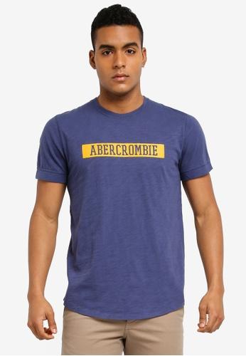 Abercrombie & Fitch blue Print Varsity T-Shirt 4755CAA854C285GS_1