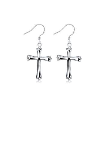 Glamorousky silver Fashion Simple Cross Earrings D2CB6ACEF075F1GS_1