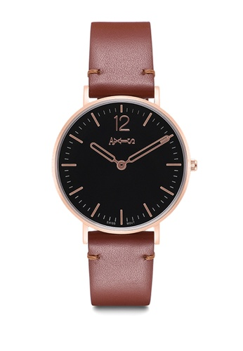 Axis black and brown AXIS - Genuine Leather Quartz Watch / Classic Collection 27ED9AC90B8034GS_1