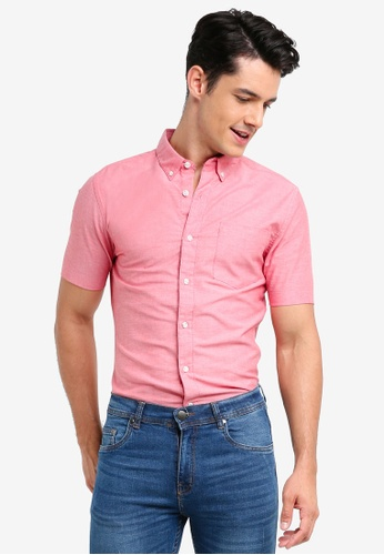 Topman red Short Sleeve Pink And White Oxford Muscle Fit FB1C1AA8063BA9GS_1