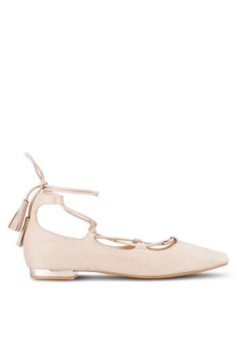 ZALORA 米褐色 Lace Up Ballerinas FAAD2SH693E517GS_1