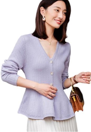 Sunnydaysweety 紫色 V領鏤空收腰針織上衣 A092207PU 41F5FAA6C3EA16GS_1
