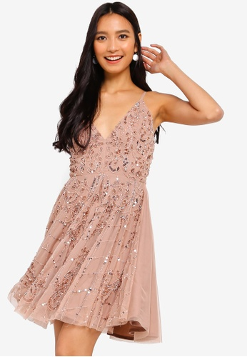 408fbf2de33f3 Roxanne Embellished Strappy Skater Dress