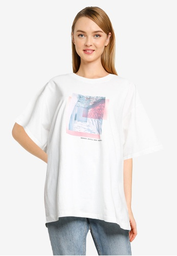 JEANASIS white Relaxed Printed T-shirt 23C93AAEED0D56GS_1