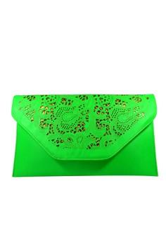 Jayla Paisley Laser-cut Envelope Clutch Fluorescent Green