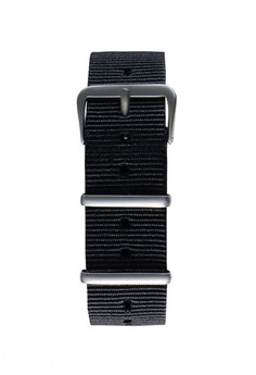 NATO霧面銀黑色錶帶