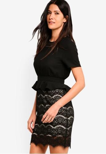 ZALORA black Peplum Lace Sheath Dress 33A4DAA1372CE4GS_1