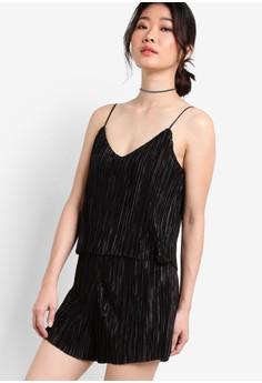 【ZALORA】 Premium 起褶層次飾背心連身短褲