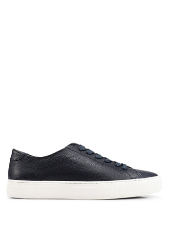 MANGO Man blue and navy Pebbled Leather Sneakers 4701BSH66389A9GS_1