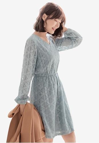 Sesura blue Floral Openwork Lace Dress 24875AA5A05411GS_1