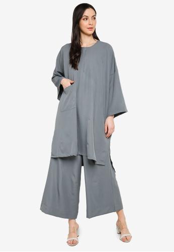 Butik Sireh Pinang grey Mawar Blouse Loose Pocket Suit 2DD5BAABFDA906GS_1
