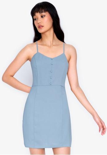 ZALORA BASICS blue Button Detail Mini Dress D0FFEAA4C0200BGS_1