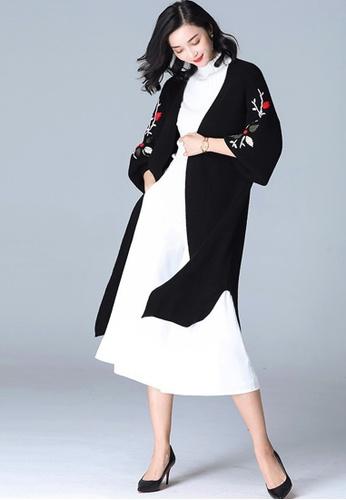 Sunnydaysweety black Black Floral Long Sleeves Coat A110202BK SU219AA0GYFISG_1