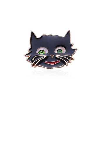 Glamorousky silver Simple and Cute Plated Gold Black Cat Brooch FAD57AC0F19F1BGS_1